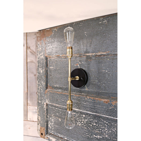 Exposed Bulb Style Sconce  - Wall Mounted- Twin Vertical - Satin Brass/Black Hardware
