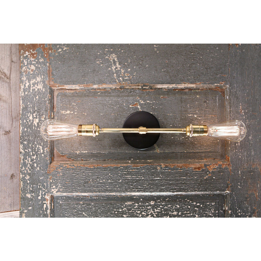 Exposed Bulb Style Sconce - Twin Horizontal