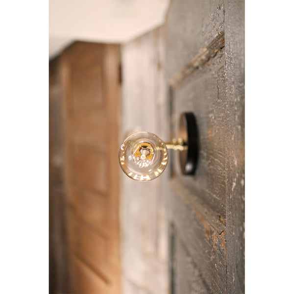 Exposed Bulb Style Sconce - Twin Horizontal - Wall Mounted - Satin Brass/Black Finish
