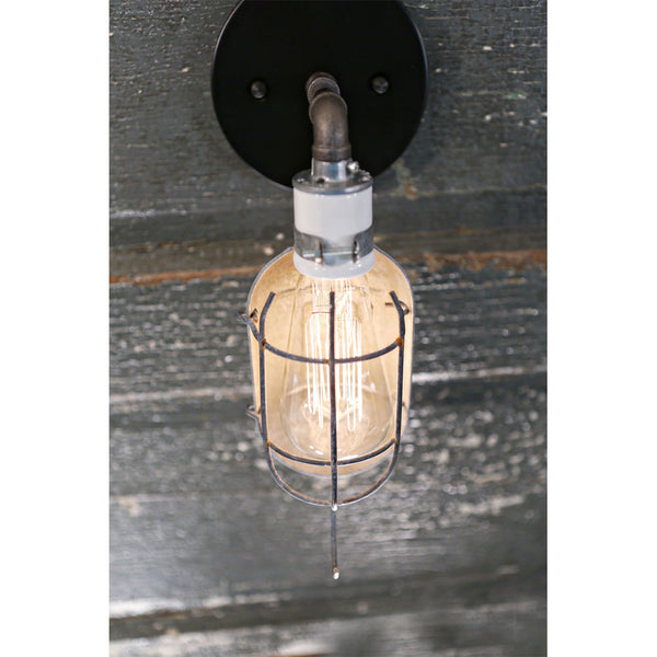 Sconce - Vintage - Industrial Cage - Black Hardware - Wall Mounted  - 4 Inch