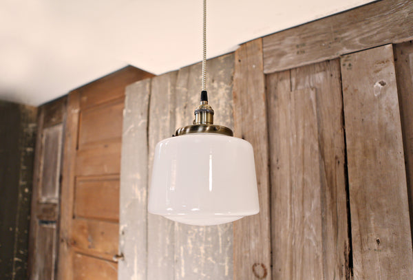 Modern Opal Taper Drum Shade - Pendant Light – 8 Inch | Genuine Hand Blown in the USA - Antique Brass Hardware
