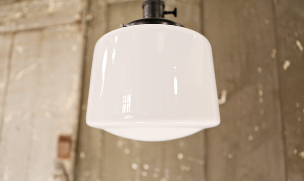 Modern Opal Taper Drum Shade - Pendant Light – 8 Inch | Genuine Hand Blown in the USA - Black Hardware