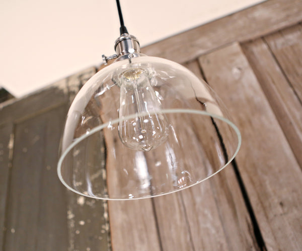 Modern Flared Open Crystal Glass Shade - 8 Inch-  Pendant Light Fixture - 8 Inch | Genuine Hand Blown in the USA Glass
