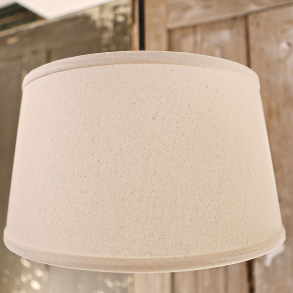 Modern Homespun Natural Taper Burlap Drum - Downrod Light Fixture - 15 Inch - Oil Rubbed Bronze Finish
