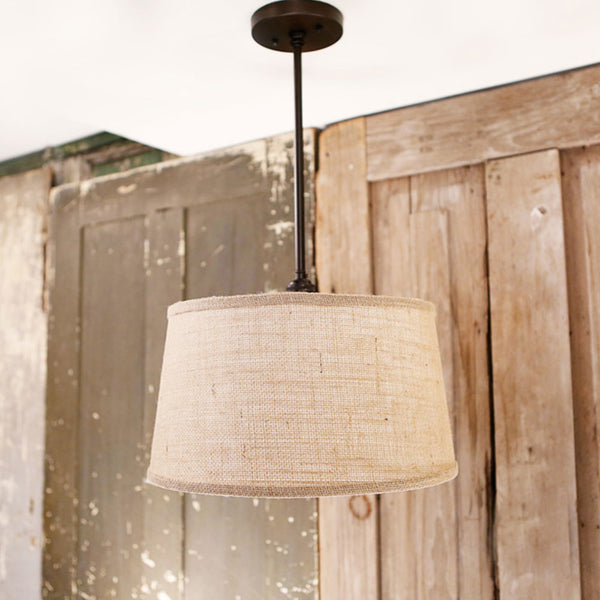 Modern Natural Burlap Taper Drum Shade Downrod Light - Oil Rubbed Bronze - Burlap Taper Drum - 15 Inch