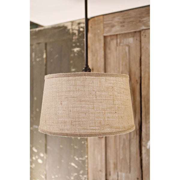 Lighting with Downrod - Burlap Taper Drum - 15 Inch
