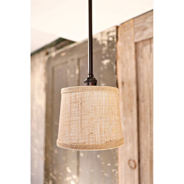 Downrod Pendant with Tapered Burlap Shade - 7 Inch