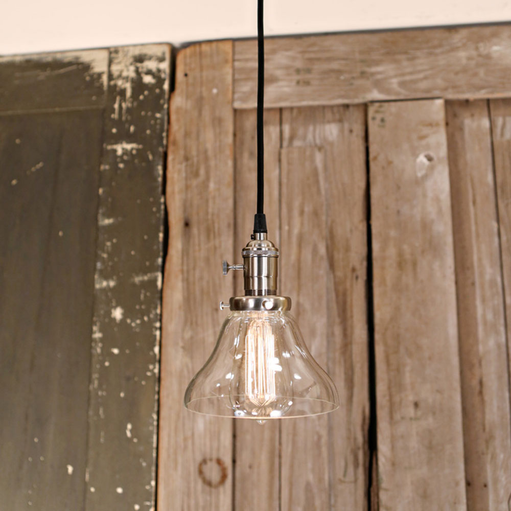Clear Glass Open Shade  - Ceiling Hung - Pendant Light - Satin Nickel Finish  - 6 Inch  | Genuine Hand Blown in the USA Glass Shade