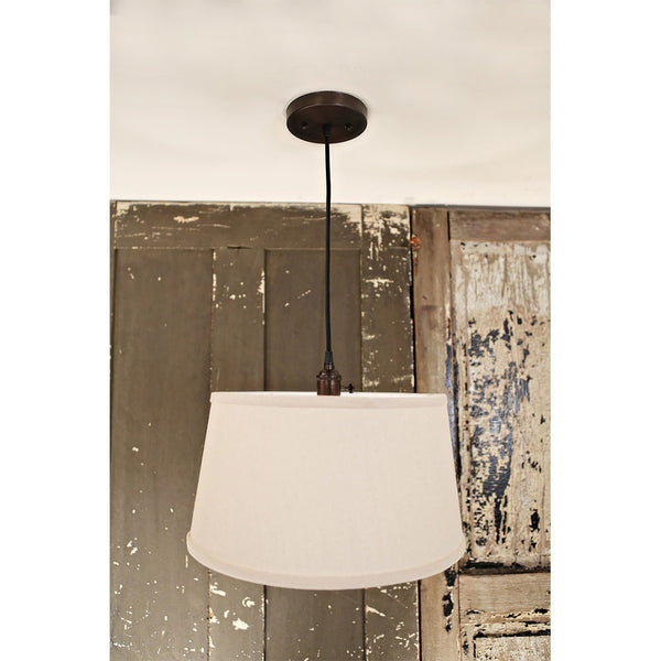 Modern Taper Drum Shade - Homespun Natural Fabric - Pendant - Oil Rubbed Bronze Hardware -15 Inch