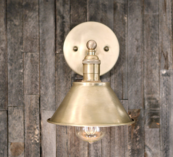 Sconce - Raw Brass Shade - Satin Brass Custom Hardware- Wall Lighting - 7 Inch
