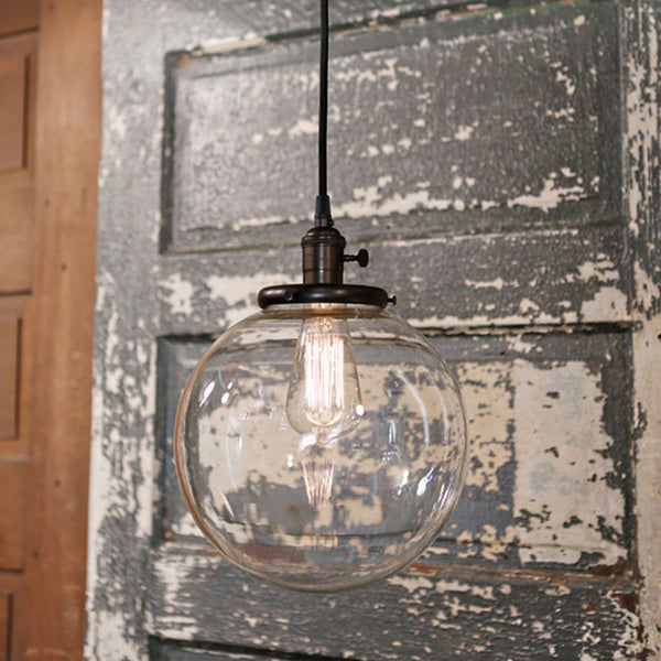 Modern Globe Pendant Light - Clear Glass - 10 Inch - Ceiling Hung Fixture- Oil Rubbed Bronze Finish - Genuine Hand Blown in the USA Glass Globe