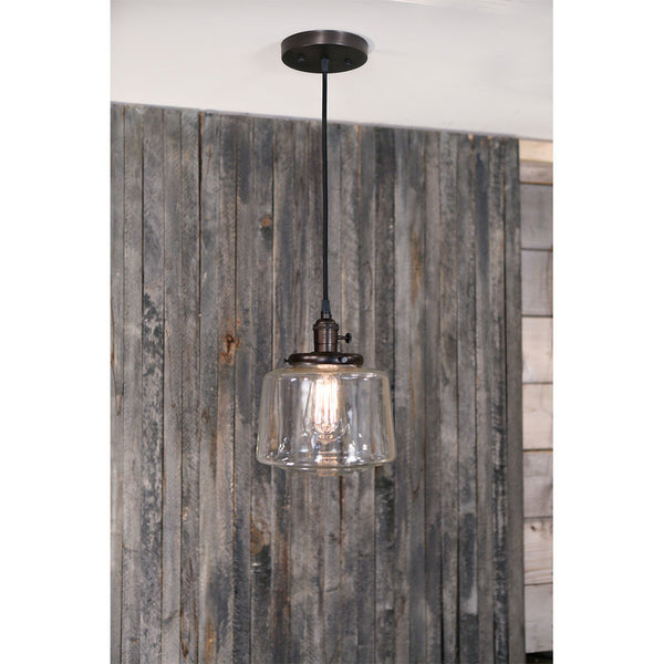 Modern Clear Glass Taper Drum - Pendant Fixture - Oil Rubbed Bronze Hardware - 8 Inch | Genuine Hand Blown in the US Glass Shade