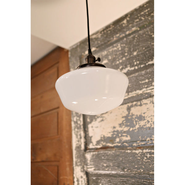 Modern Lighting with Schoolhouse Style Opal Glass - Oil Rubbed Bronze Hardware - 10 Inch | Genuine Hand Blown in the USA Glass Shade
