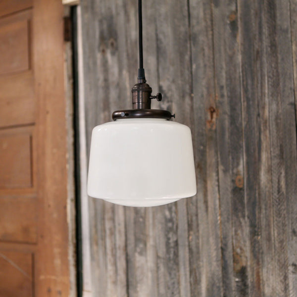 Modern Opal Taper Drum Shade - Pendant Light – 8 Inch | Genuine Hand Blown in the USA - Oil Rubbed Bronze Hardware
