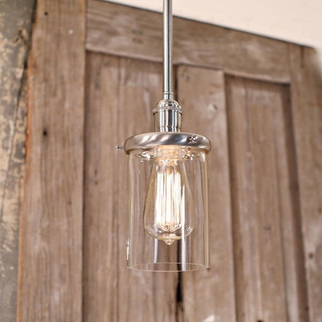 Modern Clear Glass Cylinder - Downrod Light - Ceiling Hung - Satin Nickel Finish - 4 Inch  | Genuine Hand Blown in the USA Glass Shade