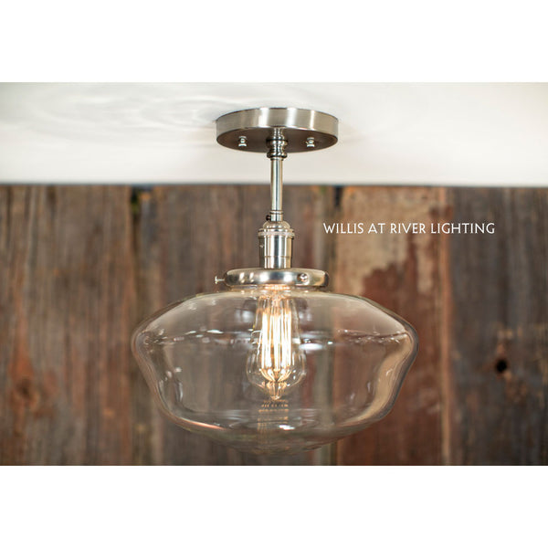 Modern Schoolhouse Clear Glass Fixture - Semi Flush - Satin Nickel Hardware - 12 Inch | Genuine Hand Blown in the USA Glass Shade