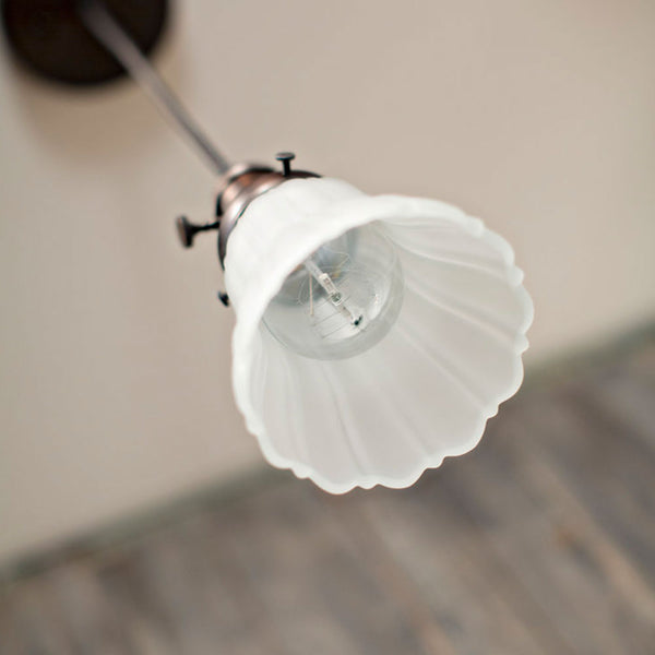 Modern Frosted Sheffield Style Pendant Fixture - Oil Rubbed Bronze - Wire Hung - 5 Inch Glass Shade