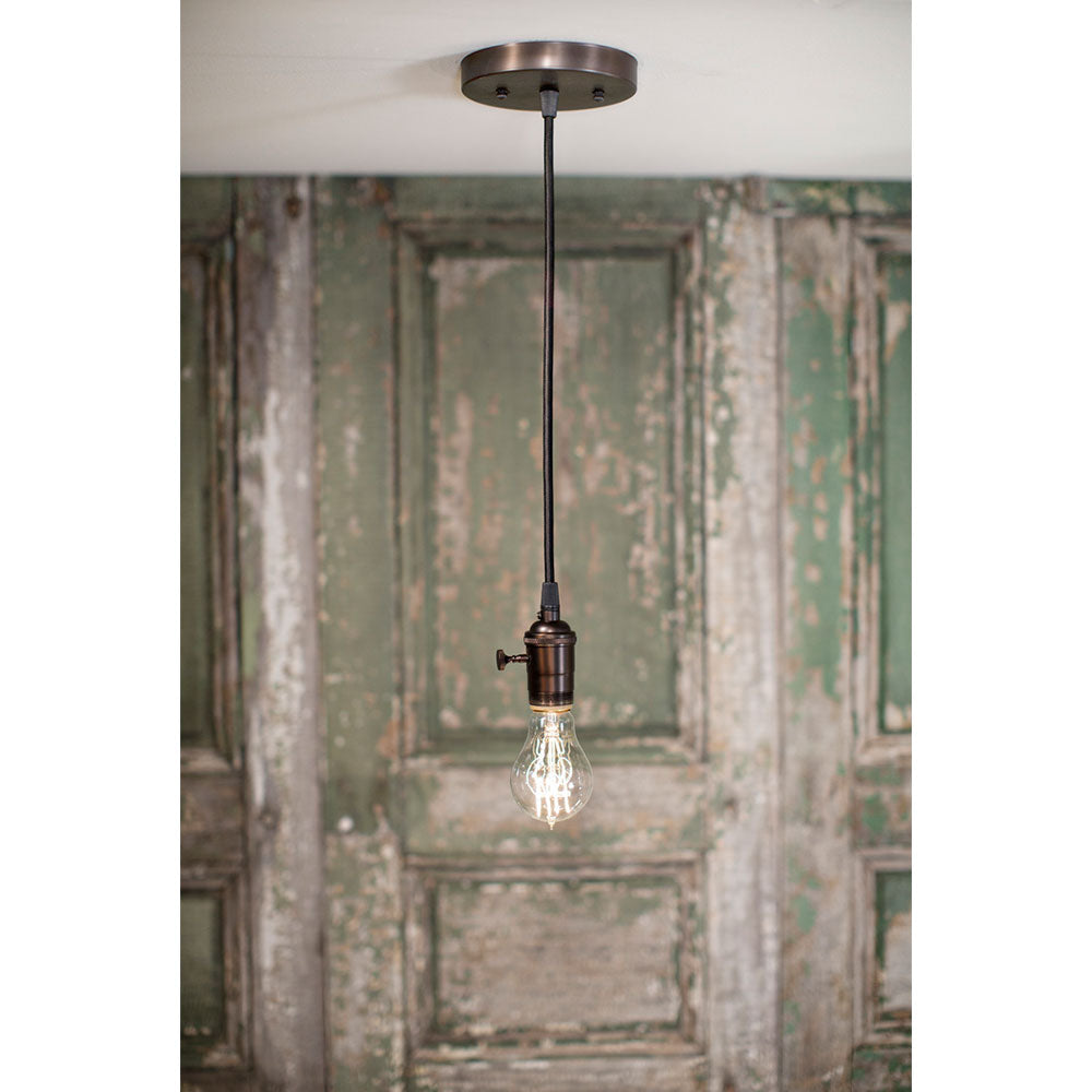 Simple Exposed Bulb Style - Pendant Fixture - Oil Rubbed Bronze Hardware