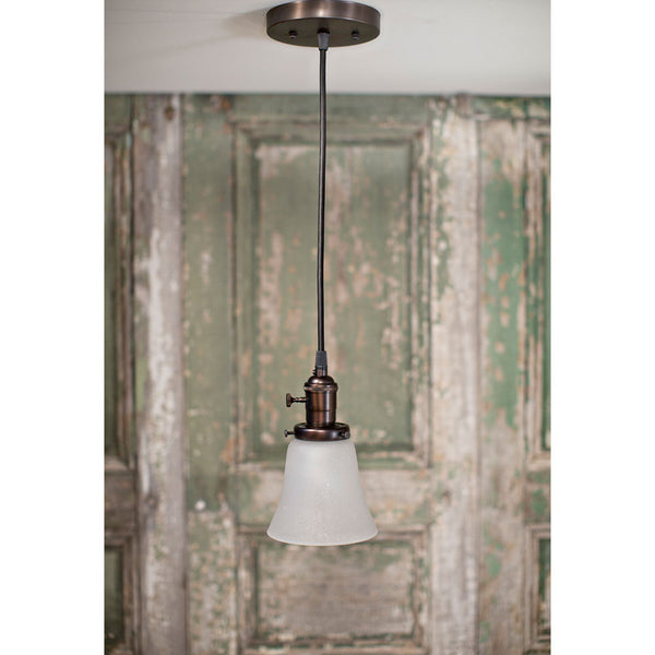 Modern Seeded Glass Opal Petite Pendant - Oil Rubbed Bronze Hardware -  5 Inch