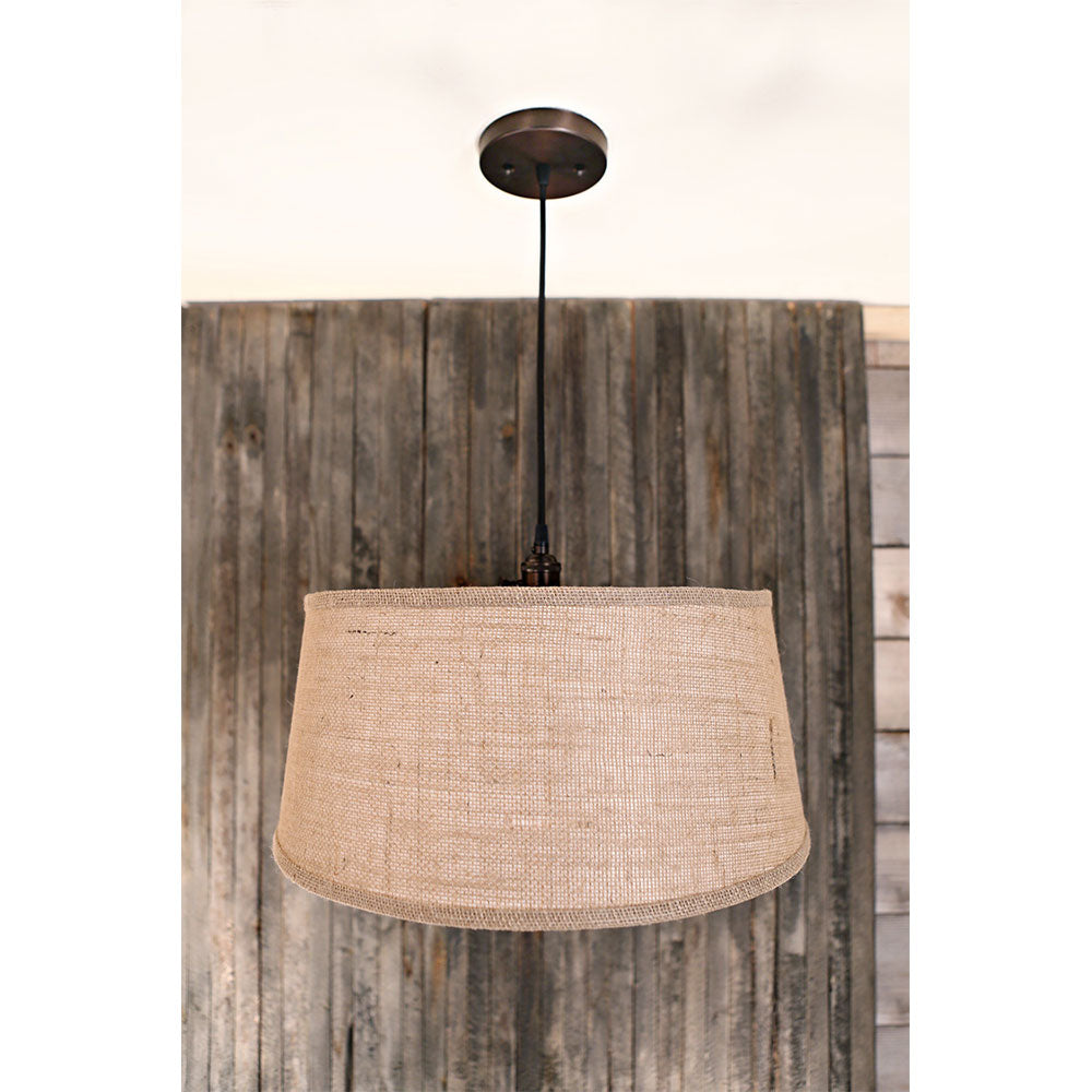 Modern Taper Burlap Drum Shade – Burlap Natural – Oil Rubbed Bronze Hardware - 18 Inch