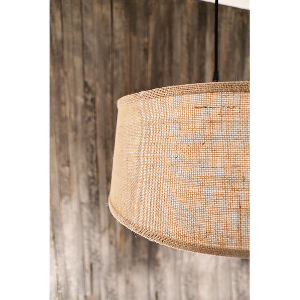 Modern Taper Burlap Drum Shade – Burlap Natural – Oil Rubbed Bronze Hardware - 15 Inch