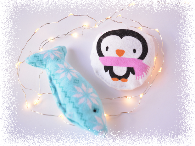 Christmas Cat Toys - Catnip Toys - Cat Gifts - Fish and Penguin