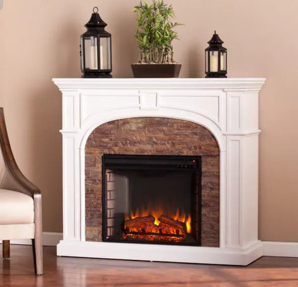 Assembled Harper Blvd Kelley White Stacked Stone Effect Electric Fireplace