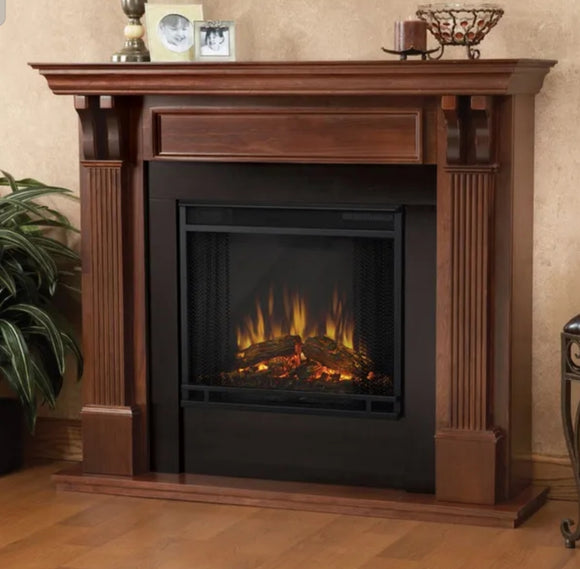 Assembled Ashley electric fireplace in Mahogany