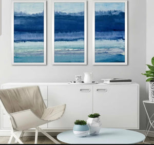 'Blue on Blue II' Watercolor Painting Print Multi-Piece Image **FREE SHIPPING**