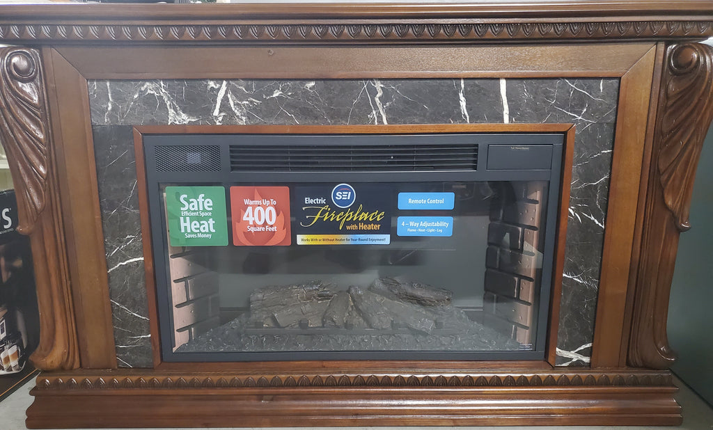 Assembled electric fireplace w/remote