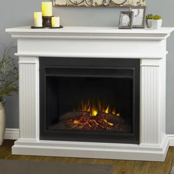 Assembled Kennedy Grand Electric White Fireplace by Real Flam