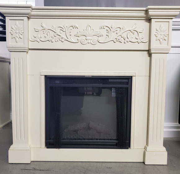 Assembled cream color electric fireplace