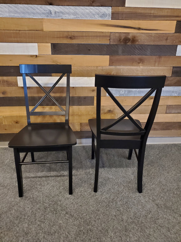 Chair - set of 2 wood black dining chair