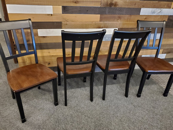 Chair- set of 4 black/wood dining chairs