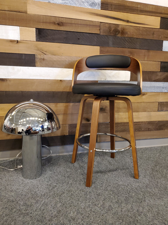 Combo - 1 black/wood swivel stool with Chrome lamp