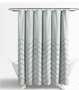 Shower Curtain - Chenille Chevron 72x72 Pastel Blue