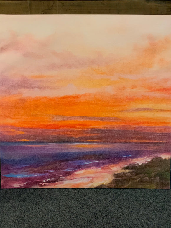 Art 35x35 Sunset at the Beach