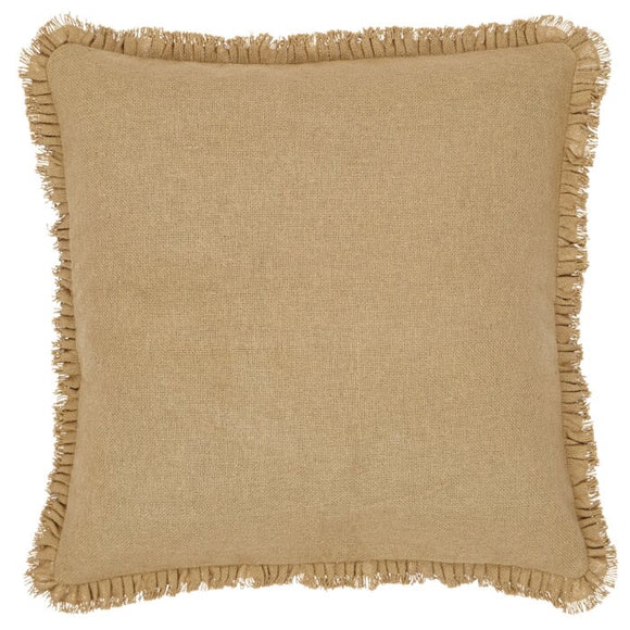 Andrade Burlap Natural Fringed Throw Pillow
