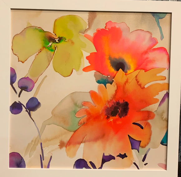 Art 20x20 framed flowers (light scratches on one area of frame)