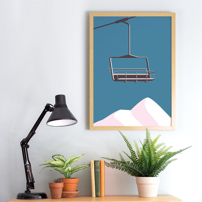 Chair Lift & Mountains Ski Print