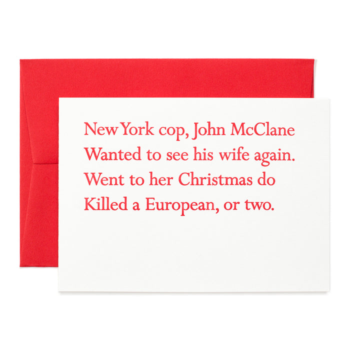 Die Hard Christmas Clerihew Card