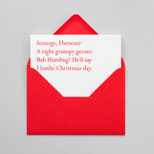 Scrooge Christmas Clerihew Card