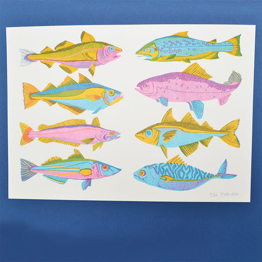 British Fish Risograph Print