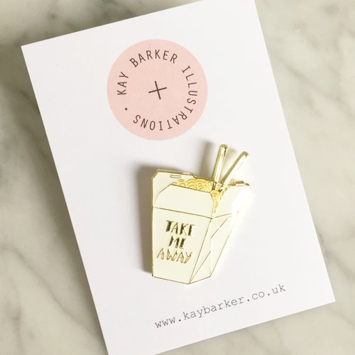'TAKE ME AWAY' NOODLE BOX PIN BADGE