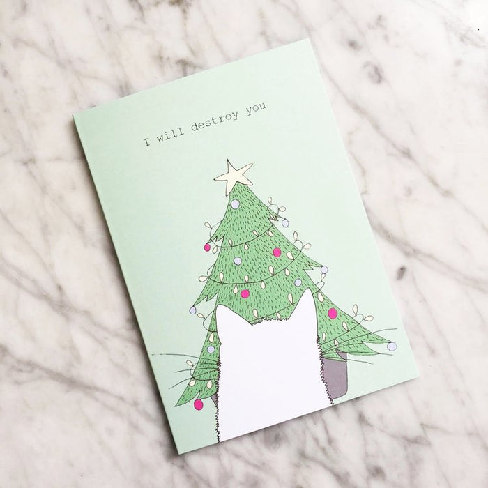I WILL DESTROY YOU CAT CHRISTMAS CARD