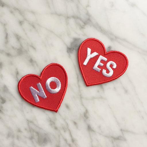 LIMITED EDITION - YES AND NO HEARTS EMBROIDERED PATCH