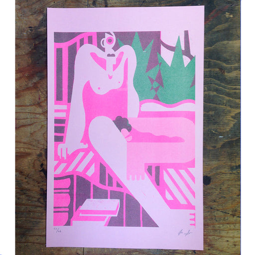 """Man On Bed' Two-Color Risograph"