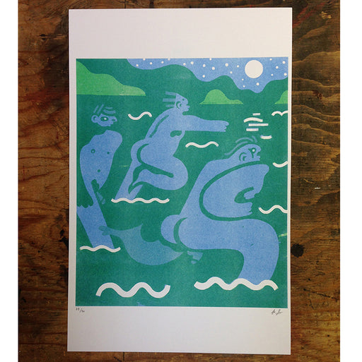 'Nightswimming' Two-Color Risograph
