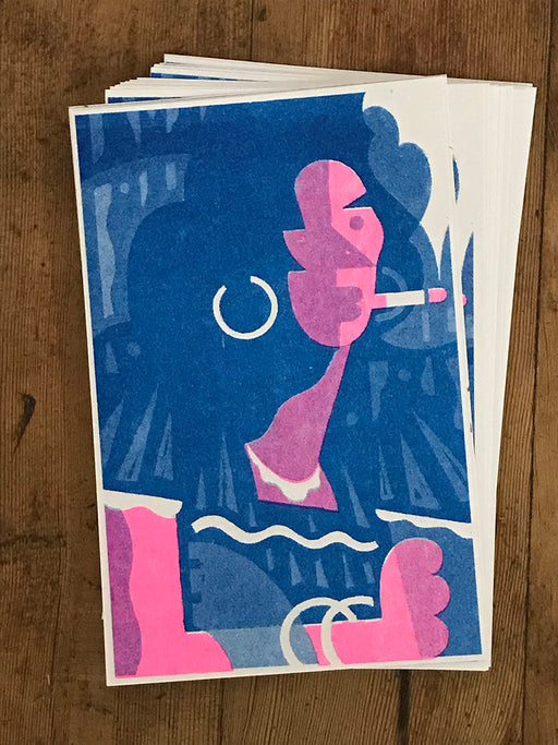 """Portrait In Pink and Blue"" Two-Color Risograph"