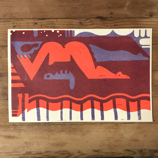 'Woman Prone' Two-Color Risograph